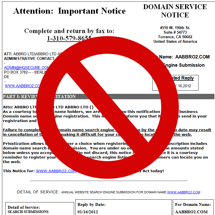 Domain Service Notice