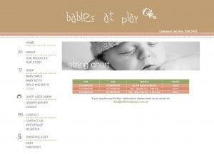 Sizing Chart Page - Babies at Play