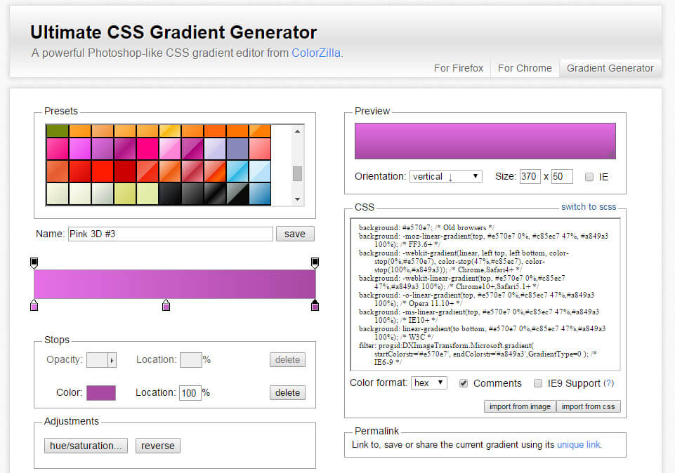 Ultimate CSS Gradient Generator - ColorZilla